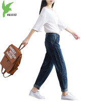 Nova Primavera Verão Mulheres Jeans Solto Calças Pés Pequenos Calças Jeans Casual Calças Cor Sólida calças De Cintura Alta Harém OKXGNZ A530