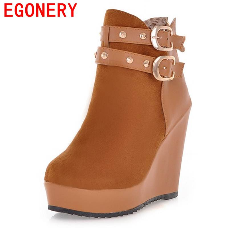 EGONERY ankle boots round toe zip modern fashion super high wedges heels winter buckle rivets platform mixed colors women shoes enmayer genuine leather women boots autumn winter wedges shoes zip fashion ankle boots mixed colors platform shoes boots 34 39
