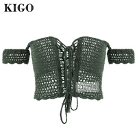 KIGO Summer Sexy Crochet Crop Tops Beach Hollow Out Crop Top See Through Off Shoulder Lace
