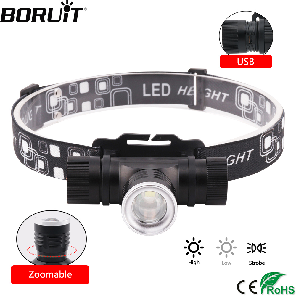 BORUiT 3-Mode Zoomable Headlamp 1000LM XML T6 LED Headlight USB Charge Head Torch Camping Flashlight Hunting Frontal Lantern
