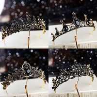 Barroco retro preto luxo tiaras de cristal nupcial coroas princesa rainha concurso baile strass véu tiara casamento acessório cabelo