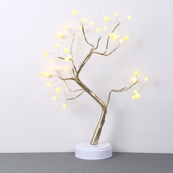 LED Imitation Pearls Tree Light USB / Battery Operated Night Touch Switch Tabletop D25