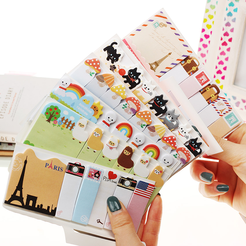 3PCS Office Writing Supplies New Cute Funny Sticker Post It Bookmark Memo Marker Point Flags Sticky Notes