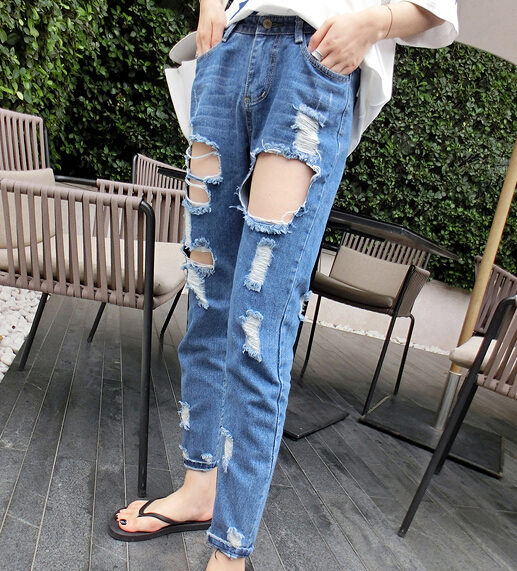 Aliexpress.com  Buy 2015 summer style fashion Women\u0027s ripped jeans Fashion  boyfriend jeans for woman Loose hole denim pants Free shipping from  Reliable