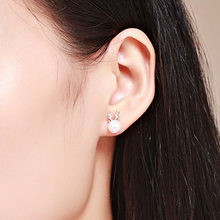 Creative Deer Shape Rhinestone Simulated Pearl Earrings+Necklace Elegant Ear Studs+Necklace For Women Girls Christmas Gift(China)