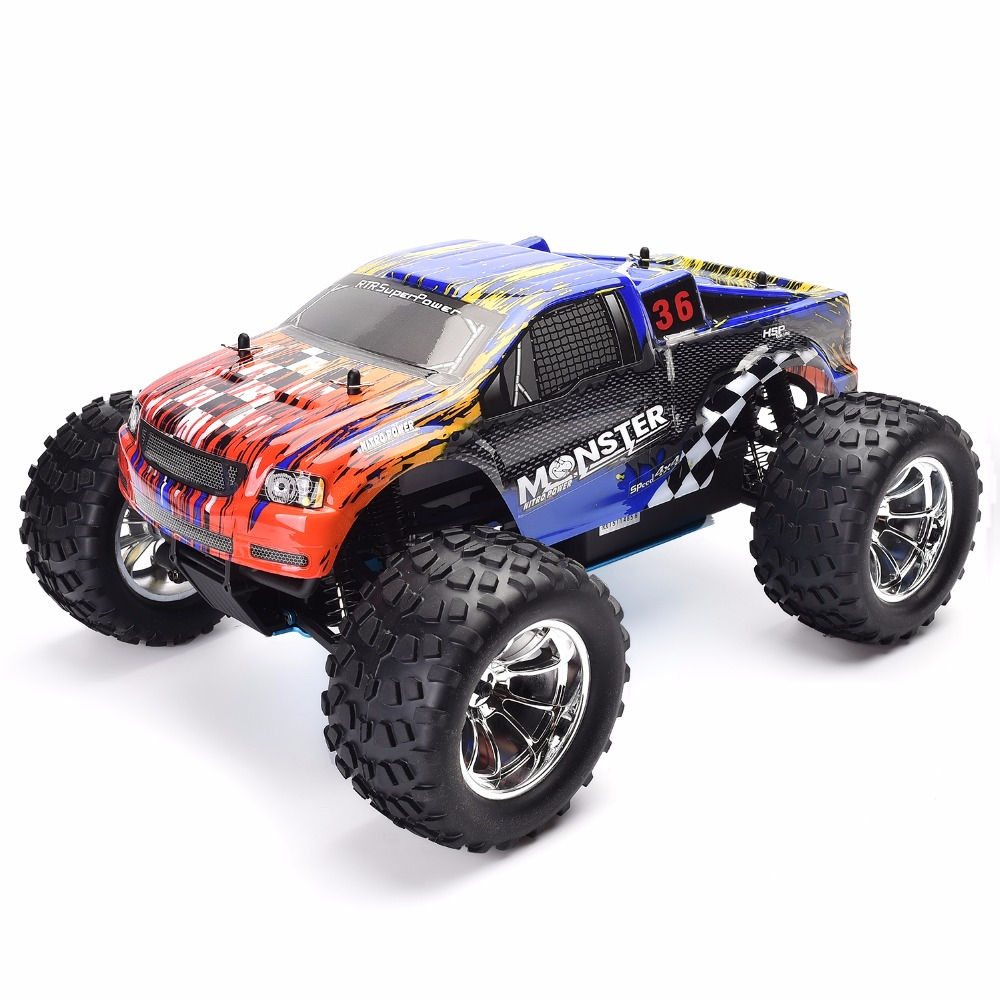 HSP Rc Truck 1/10 Scale Models Nitro Gas Power Off Road Monster Truck 94188 4wd High Speed Hobby Remote Control Car 02023 clutch bell double gears 19t 24t for rc hsp 1 10th 4wd on road off road car truck silver
