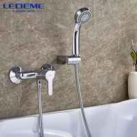 LEDEME Bathroom Shower Faucet 1 Set Two The Water Way Bath Shower Faucets Outlet Pipe Surface