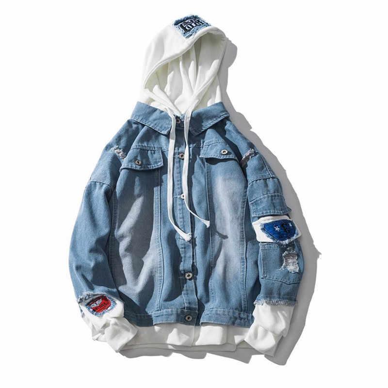 Весенняя Новая мужская джинсовая куртка с капюшоном Синяя Тонкая Повседневная модная нашивка поддельные два уличная пилот куртка-бомбер верхняя одежда мужская Ковбойская