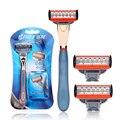 Marcas de Navalha de Barbear Lâminas De Barbear lâminas de Barbear de segurança 1 Titular Com 3 Lâmina Lavável Barba Barbeadores para Os Homens Punho Da Liga do Zinco