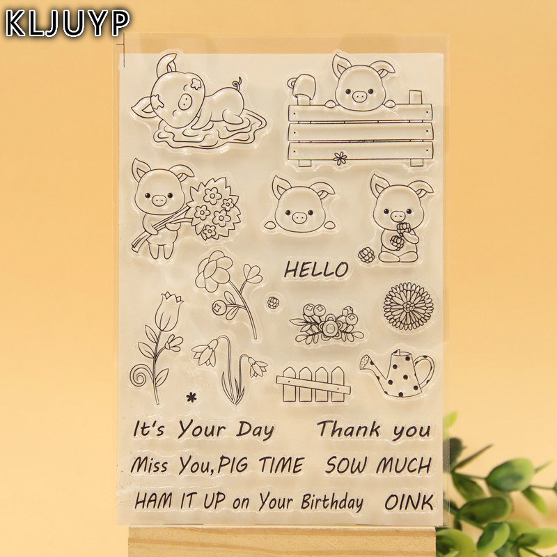 KLJUYP Cute Pigs Transparent Clear Silicone Stamp/Seal for DIY scrapbooking/photo album Decorative clear stamp sheets kljuyp cheese transparent clear silicone stamp seal for diy scrapbooking photo album decorative clear stamp sheets