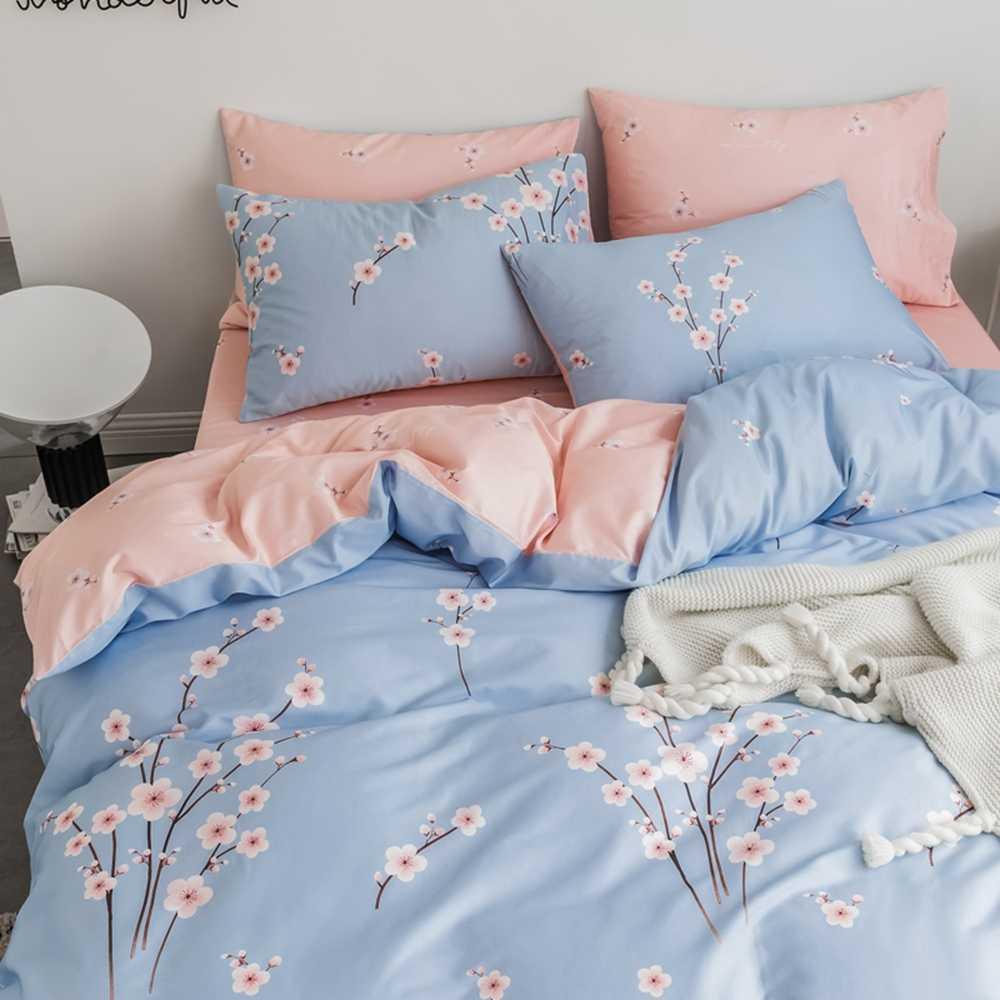 luxury Oriental classical pink / blue AB Side bedding set Single queen double sizes bed linens set duvet / quilt cover set 4 pcs