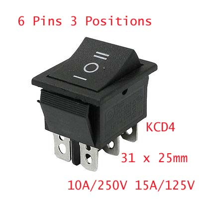 6 Pins ON/OFF/ON DPDT Panel Mount Boat Rocker Switch 10A/250V 15A/125V AC KCD4 5 pcs ac 6a 250v 10a 125v 3 pin black button on on round boat rocker switch