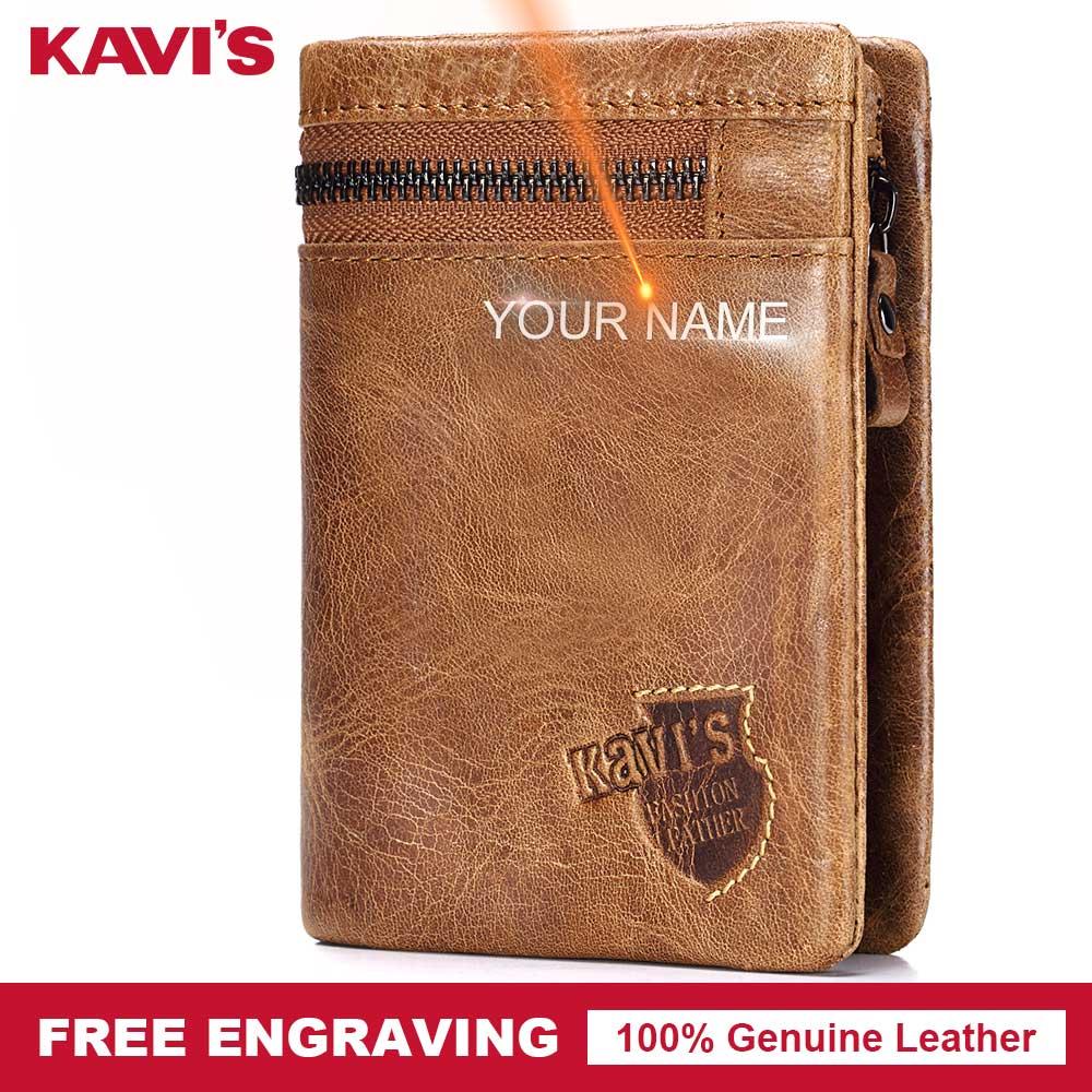 meilleures baskets cd913 aaf99 € 15.02 44% de réduction|KAVIS gravure gratuite en cuir véritable  portefeuille hommes porte monnaie homme Cuzdan Walet Portomonee  portefeuille porte ...