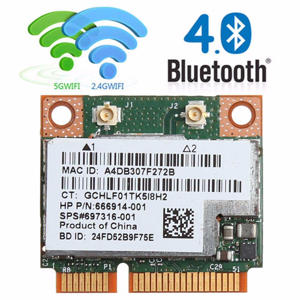 Tablet-Dual Band 2.4+5G 300M 802.11a/b/g/n WiFi Bluetooth 4.0 Wireless Half Mini PCI-E Card For HP BCM943228HMB SPS 718451-001