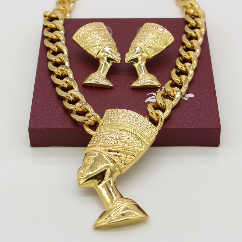 Adixyn big size egyptian queen nefertiti pendant gold color thick adixyn big size egyptian queen nefertiti pendant gold color thick chain earrings jewelry sets africa egypt items in bridal jewelry sets from jewelry mozeypictures Images