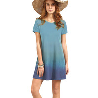 Women Fashion Tie Dye Shirt Dress