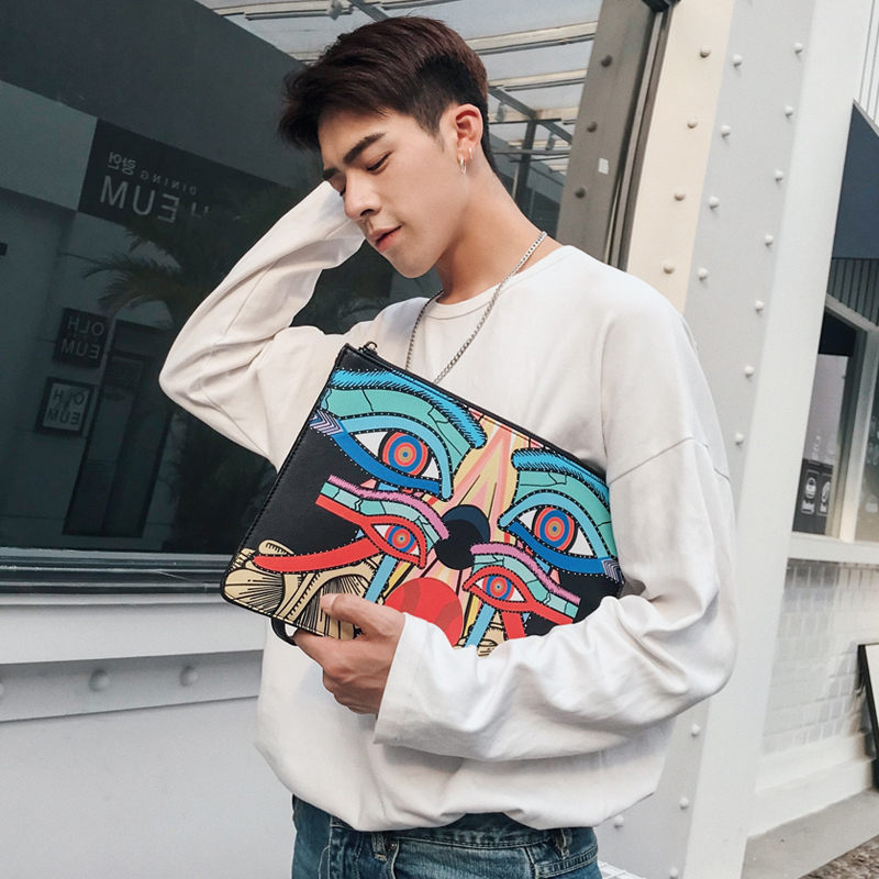 2019 New Men's Envelope Clutch Handbag Cartoon Print Shoulder Bag Women's Messenger  Bags Free Shipping