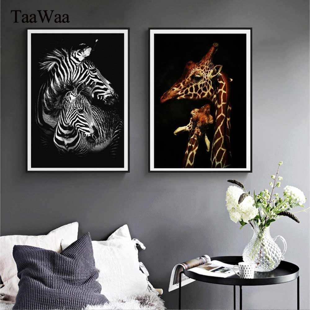 TaaWaa Nordic Style Cartoon Zebra Giraffe Animals Canvas Poster Prints Painting Nursery Wall Art For Kids Room Modern Home Decor