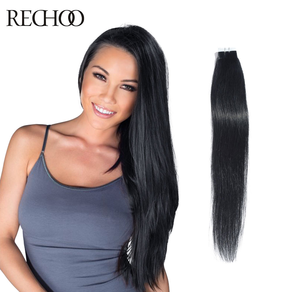 Rechoo Cheap Tape In Human Hair Extension 20pcslot Double Drawn