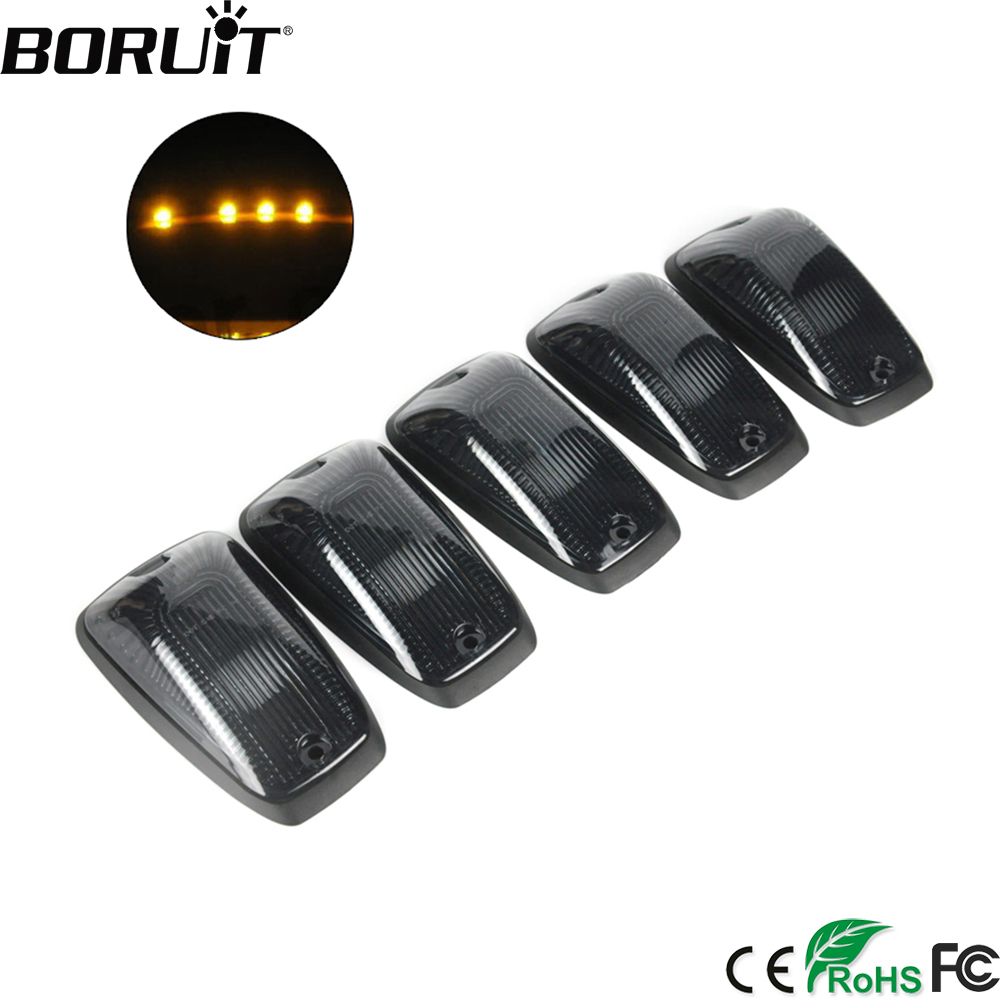 BORUiT 5pcs Smoked Lens 3000K Yellow LED Cab Roof Top Marker Running Lights For Truck SUV Top Marker Running Right