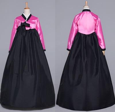 Hitam Oriantal Kostum Wanita Korea Tradisional Hanbok Wanita Gaun Nasional Lengan Panjang Perempuan Korea Kuno Cosplay Kain 16