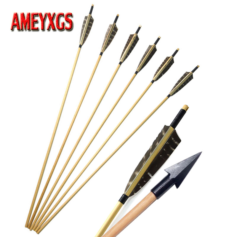 Archery Handmade Wooden Arrows With Natural Turkey Feather /& Arrowheads Tips