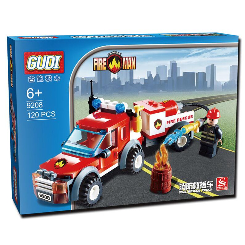 GUDI 122Pcs City Fire Station Fire Rescue Building Blocks Truck Compatible Truck Education DIY Toys Gift for Children Boys lepin 02012 city deepwater exploration vessel 60095 building blocks policeman toys children compatible with lego gift kid sets