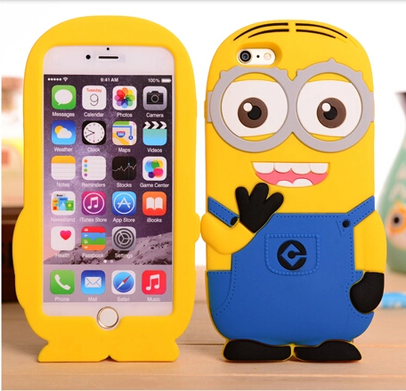 b54db8288ca8 Cartoon Minions Design case for Iphone 6 plus Sky blue   Dark blue cute  silicon rubber back cover   shell for Iphone 6 5.5 inch on Aliexpress.com