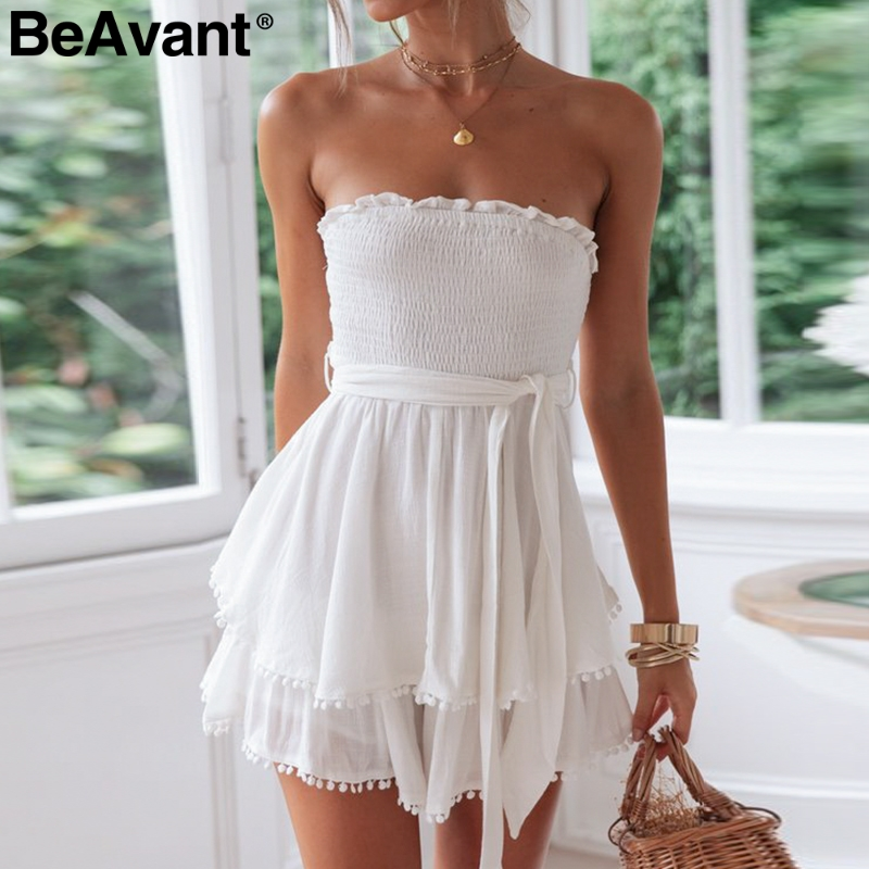 BeAvant Off shoulder cotton linen women rompers Strapless white summer   jumpsuit   female Holiday beach short overall playsuit 2019