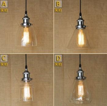 American Loft Glass Pendant Light Fixtures Industrial Vintage Lighting For Dining Room Bar Simple Hanging Lamp Lustres De Sala