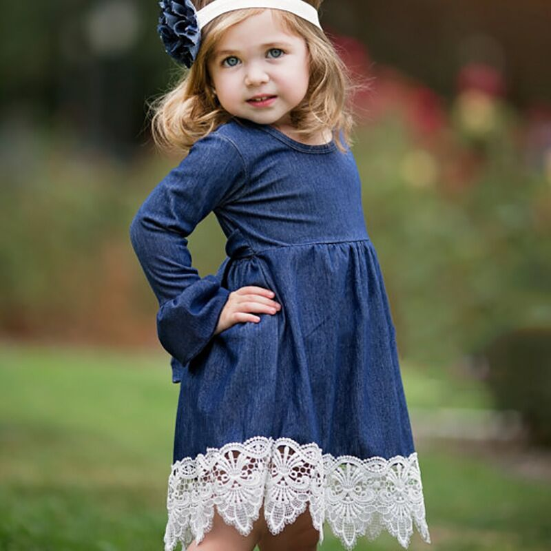 Girl Dress With Lace Long Sleeve Denim Dress Brand Kids Dresses For Baby Girls 2017 Spring Autumn Party Costume Children Clothes