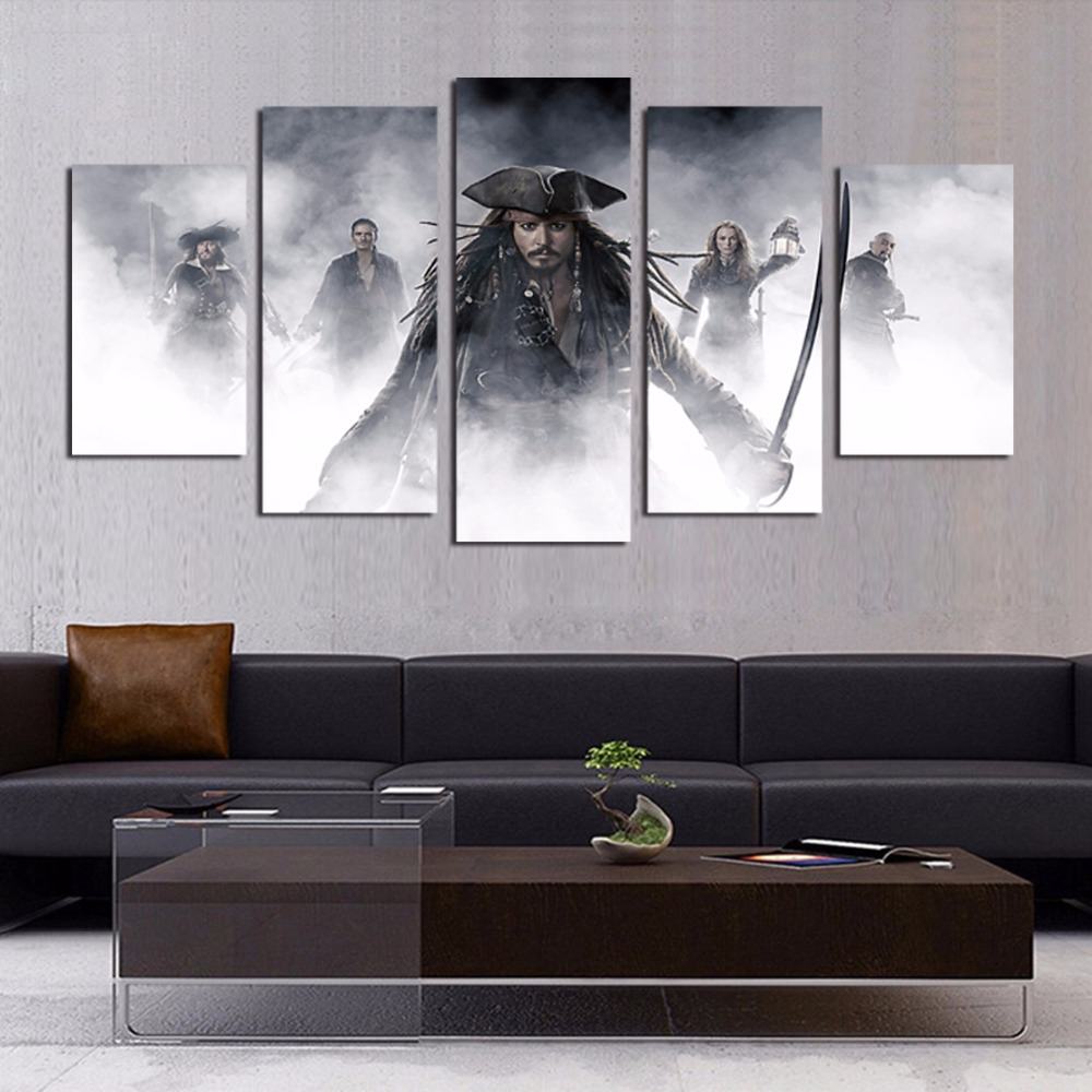 online get cheap pirate posters aliexpress com alibaba group wall art hd printed pictures home decor linving room frame 5 pieces pirates of the caribbean canvas painting movie poster pengda