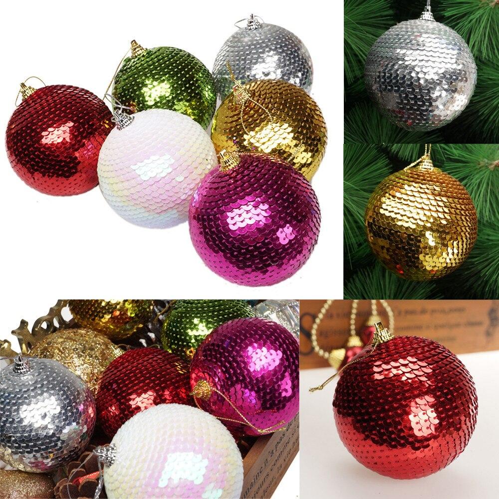 6 Plumas Blancas Bolas Árbol De Navidad Decoración Navidad 60mm