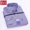 Spring Autumn 2017 Mens Shirt Long Sleeved Striped Oxford Dress Shirts Cotton Classic Slim Fit Button-down Casual Shirt 4XL X443