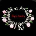 Greek AKA  Sorority   pink  and green crystal bead   Alpha Kapp Alpha Letter Charm Bracelet Jewelry