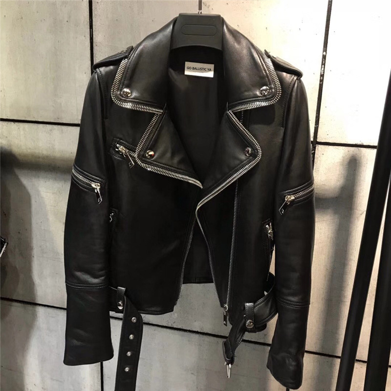 Chaqueta de cuero real para mujer chaqueta de cuero genuino de calidad moto & biker chaqueta de cuero-in Cuero y ante from Ropa de mujer    1