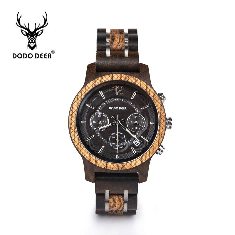 DODO CERF montre en bois en acier bois combiné affichage du calendrier multifonctionnel main noir montre bois de santal livraison directe