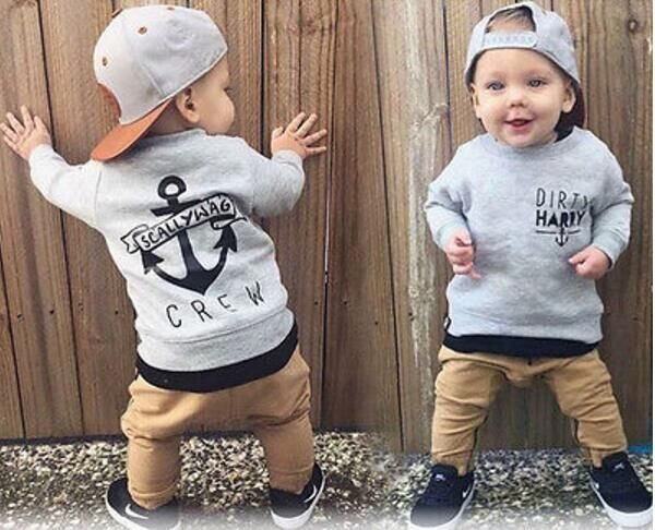 Kids Baby girls boys clothes sets 2018 Autumn Long Sleeve Grey Dirty Harry Sweater+Khaki Trousers 2pcs Boys clothing Outfits new 2015 autumn winter fashion baby kids boys long sleeve shirt jeans denim trousers set outfits 1 6y