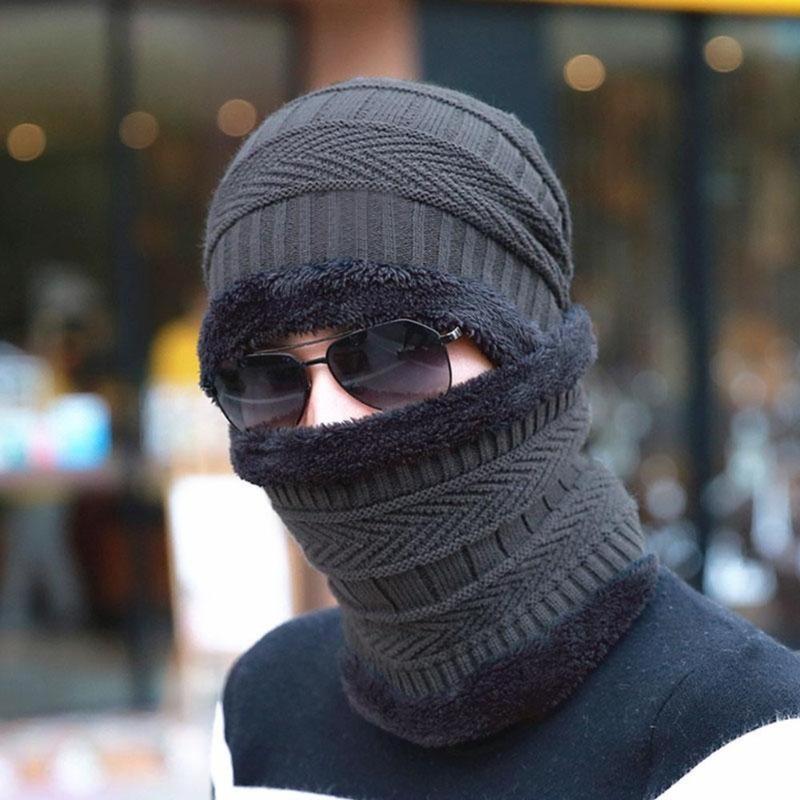 Warm Windproof Knitted Hat Winter Men Sports   Skullies     Beanies   Neck Warmer