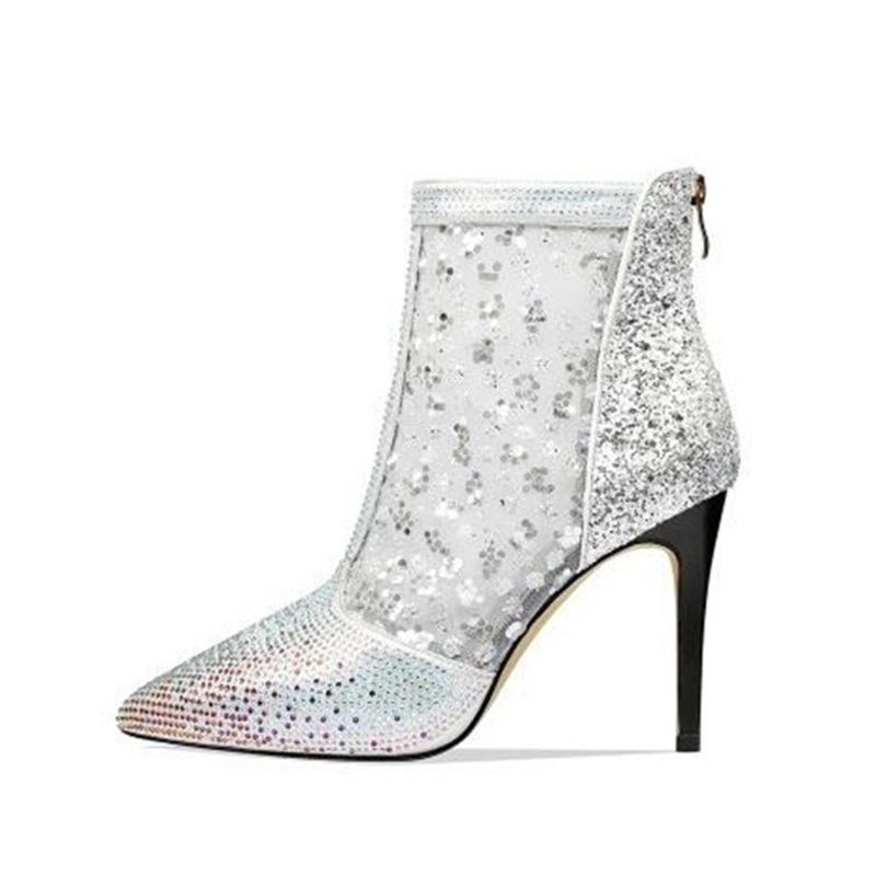 2019 Newest Crystal Embellished Gradient Color Fashion Ankle Boots Woman Pointed Toe Ladies Shoes Spring