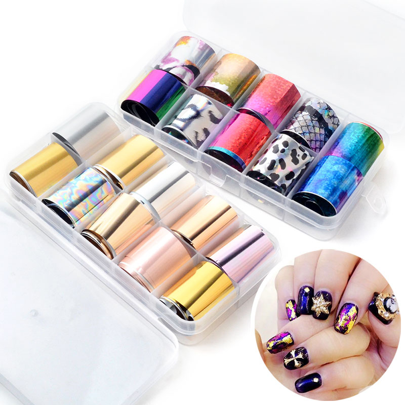 10 Rolls Holo Nail Art AB Star Foils Laser Broken Glass Transfer Sticker Manicure  UV Gel 291e9fbe5ef6