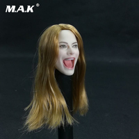 1/6 Scale Blonde Hair Girl Personalized Carving Head Singing Open Mouth Model for 12'' Pale Skin Female Figure Body