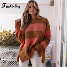 Fitshinling New Arrival Womens Jumper Sweater Long Sleeve Loose Striped Pullovers Sweaters Women Knitwear Autumn Winter Pull