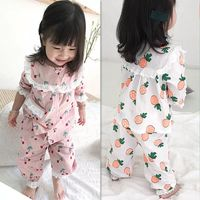Kids Pajama Sets Baby Boys Girls Sleepwear Dinosaur Pig T shirt+Pants 2pcs Autumn Winter Children Nightwear Sets Kids Clothes