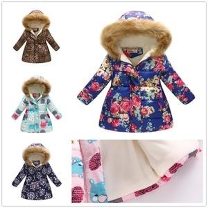 Image 3 - אופנה בנות למטה מעיל צמר חורף ילדי בגדי סלעית מעיל פרחוני תינוקת מעיל להאריך ימים יותר ילדי תלבושות חולצות מגשרים