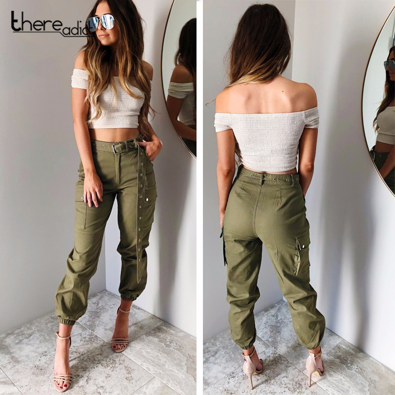 SANTUNE 2018 Cargo Elasticated Trousers Women's Big Pockets On Both Sides Trousers Casual Long Straps Safari High Waist <font><b>Pants</b></font>