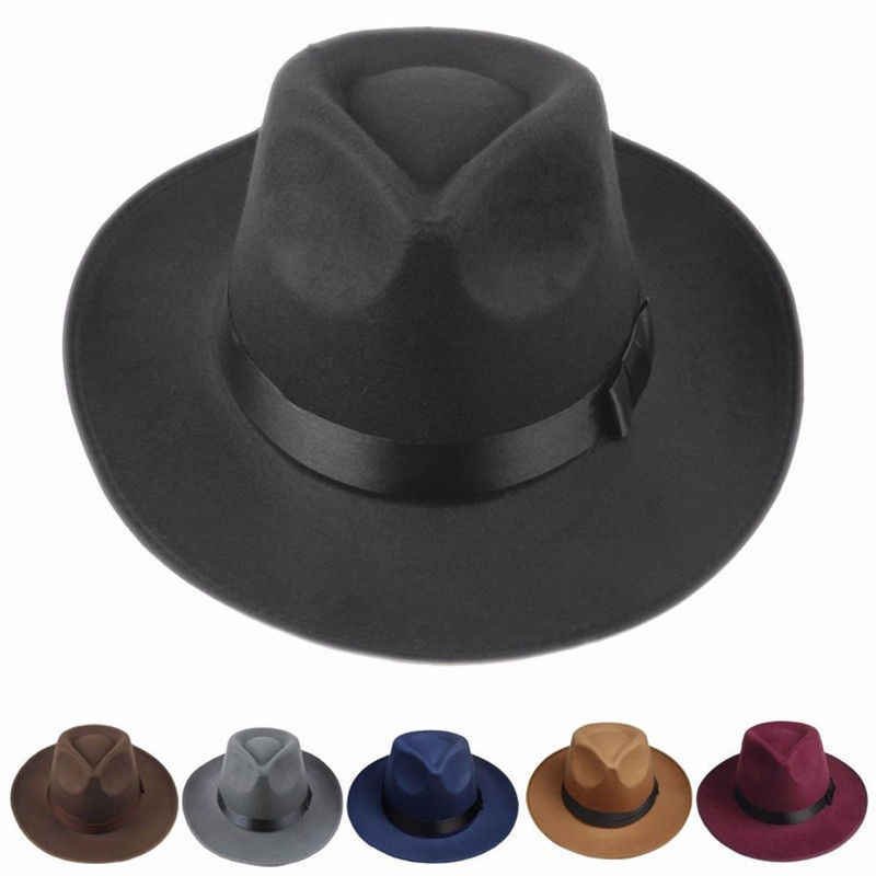 c18d85f03e3 ... Mens Women Thick Wool Vintage Felt Fedora Wide Brim Bowler Trilby Hat  Cap Black Gray