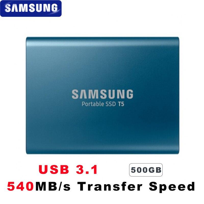 100% Original Samsung T5 Tragbare Ssd 500 Gb Usb3.1 Externe Solid State Drives Usb 3.1 Gen2 Und Rückwärts Kompatibel Für Pc Moderne Techniken