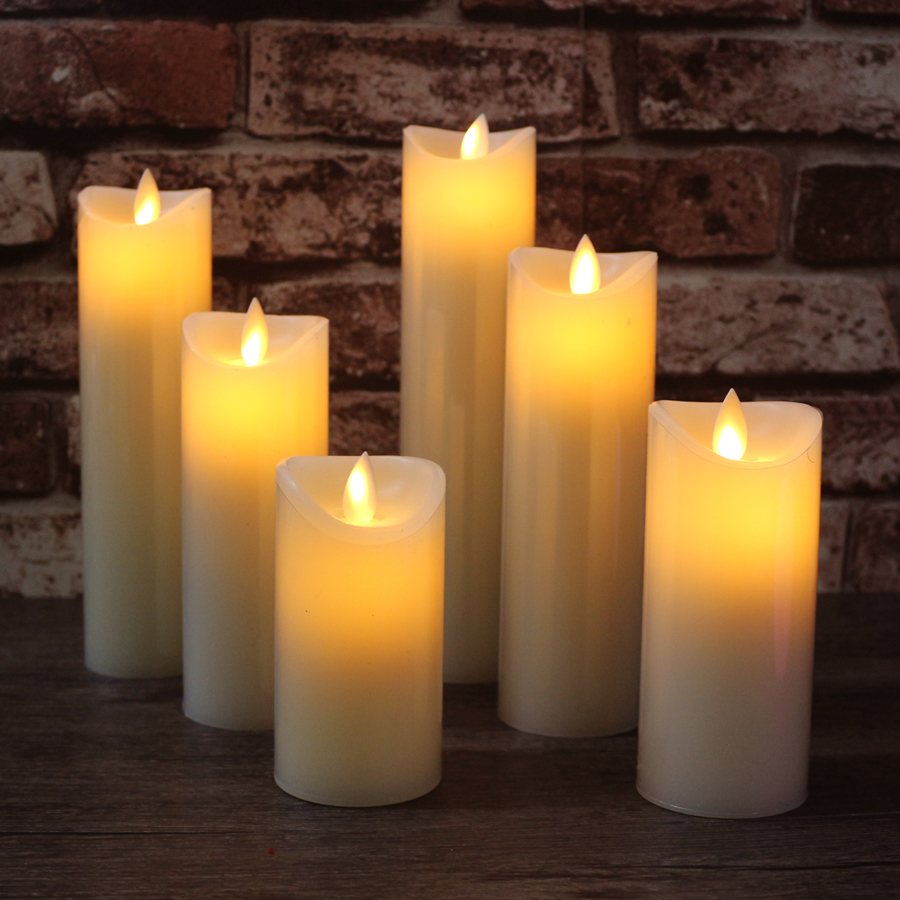 Set 5.5cm Diameter LED Electronic Flameless Candle Lights Simulation Flame Flashing Candle Lamps Wedding Party Decoration