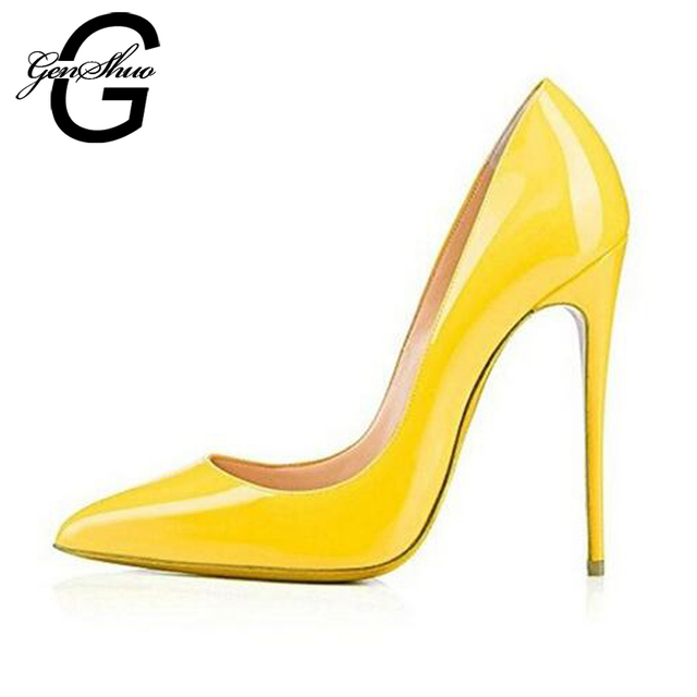 GENSHUO Sexy Pointed Toe Patent Leather 8 10 12CM Yellow High Heels Pumps Shoes Women